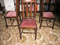 Antique oak dining chairs set of four