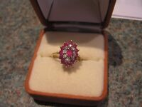Ruby and diamond Cluster Engagement Ring