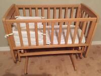 Mamas and Papas Gliding Cot Crib with Mothercare Mattress and Bedding