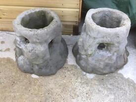 2 Concrete strawberry planters