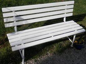 Railway station style wooden garden bench - seats 3