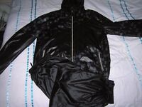 Mens wetlook Jack Jones hooded tracksuit in high sheen wetlook nylon