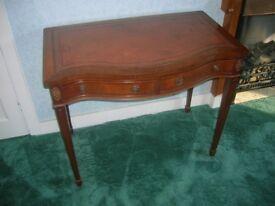 antique vintage wood writing desk retro wood 2 drawel