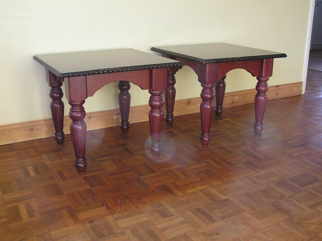 2 Mahogany Effect Lamp Tablesin Basingstoke, HampshireGumtree - Each Measures 61cm Wide x 61cm Deep x 52cm High. Good Condition, some wear. Cash on collection please, sorry no cheques can be accepted