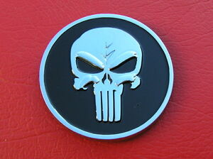 ~ PUNISHER SKULL CAR BADGE Metal Emblem *NEW & UNIQUE* Movie Skull Crossed Bones