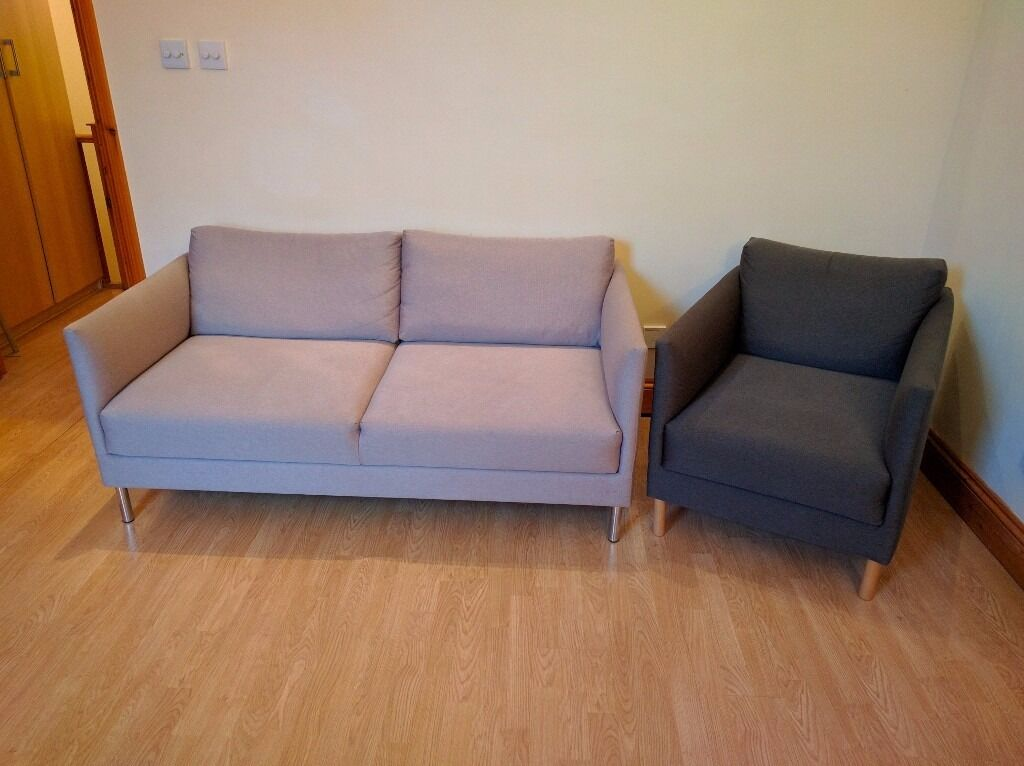 2 seat habitat hyde sofa with matching armchair in light and dark grey in willesden london. Black Bedroom Furniture Sets. Home Design Ideas