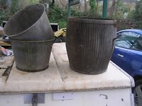 Old ponch tub / 2small galv, containers