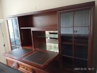 Large mahogany glass fronted dresser