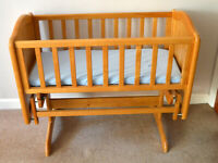 Wooden Baby Rocking Cot Bed & Mattress
