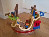 ELC Happyland Pirate Ship plus figues and dinghy. Excellent condition. Smoke/pet free.