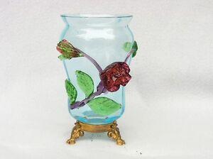 seltene VASE GLAS + florale APPLIKATIONEN* BÖHMEN KRALIK? JUGENDSTIL ~1895/DN258