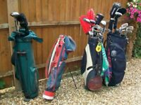 Selection of golf clubs/bags/stands