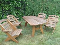 Wooden Garden Furniture - Table and 6 chairs