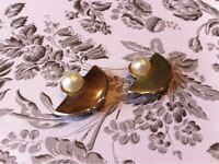 Gold Art Deco Clip Earrings with Pearls