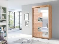 New White Wardrobe with Mirror S120 cm -FREE DELIVERY