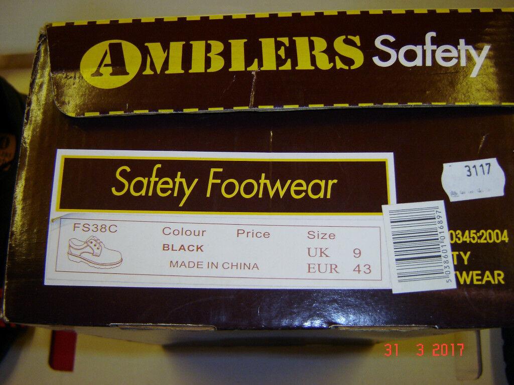 Amblers FS38C black 3 eyelet PU SOLE composite safety Gibson shoe Size 9 UK