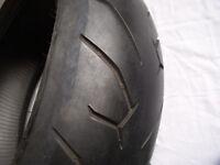 Motorcycle tyre, rear, Pirelli 200/50 ZR17.