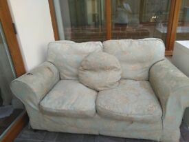 2 x 2-seater mint green sofas with matching cushions