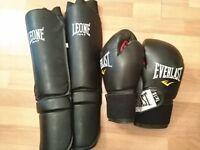 EVERLAST gloves and LEONE shin guards - Muay Thai, Kickboxing