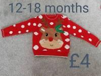 Girls Christmas dress jumper clothes 9-12 12 - 18