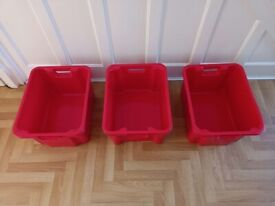NEW 3 x 40 LITRE HEAVY DUTY PLYSU PLASTIC STACKING NESTING CONTAINERS CRATES