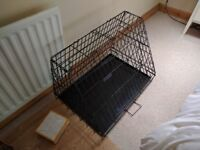 Dog cage sloping style as new with tray in black £35