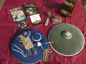Vintage Lacemaking kit, with tatting cushions and bobbins