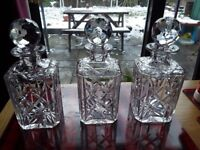 Crystal cut glass decanter set