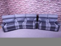 QUALITY EX DISPLAY SCS 'RALPH' 4 SEATER CURVE SOFA & 3 SEATER ALL MANUAL RECLINERS IN GREY FABRIC