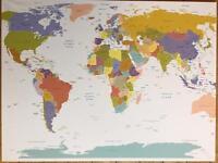 World Atlas map printed on canvas