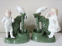 Pair Old Match Striker Vases with Parrots.