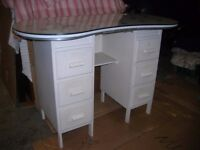 KIDNEY-SHAPED '50'S STYLE DRESSING TABLE with GLASS TOP
