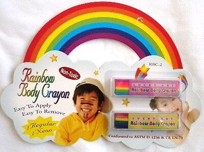 Rainbow Color Face & Body Crayon Fun Make up Stick Childs Kids Party Activities