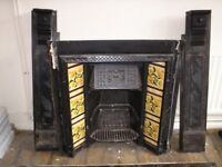 CAST IRON FIRE PLACE,VICTORIAN ,old antique,rear, PLEASE READ DISCRIPTION