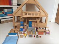 Wooden Dolls House with Furniture, Balcony and Doll Family