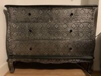 Blackened silver metal embossed large chest of drawers storage unit