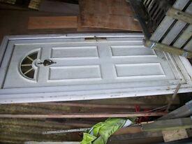 upvc door, c/w frame, half round top glass, modern, g/c