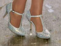Diamanté T-bar ankle strap shoes