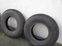 2 tyres 16 inch x 7.5 , one like new the other very good. Land rover or truck