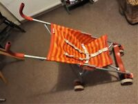 stroller / buggy lightweight umbrella fold orange/yellow sling-seat
