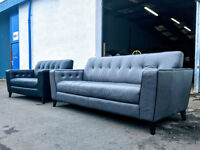 3+2 DFS retro silver grey and black leather sofas DELIVERY AVAILABLE