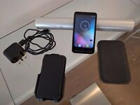 HTC HD2 - Unlocked - Win Mobile / Android. Running Android ROM with 2x case, battery. Needs Reflash