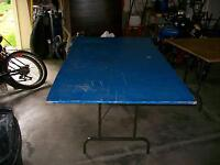 Blue Plywood table with Folding Legs