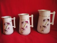 Set of 3 Fine Antique Graduated Jugs - Bamboo & Rope Design
