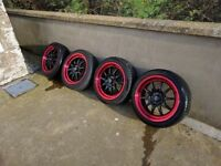 "Rota GT3 16"" x 7"" - 4x100 ET40 Black centres Red Lip with Ventus Prime 195/45 tyres good condition."