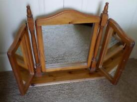 large chunky solid pine triple mirror suitable to stand on dressing table / drawers £30 M'bro TS8