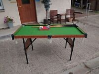 5ft long fully collapsible pool table