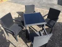 Rattan garden table and 4 chairs
