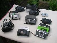 Collection of 60's, 70's and 80's compact cameras