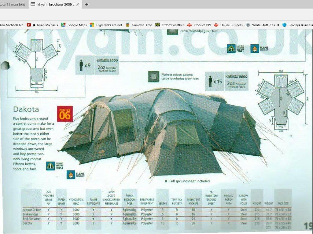 Kyham Dakota 5 pod 15 man tent with central communal area & Kyham Dakota 5 pod 15 man tent with central communal area | in ...